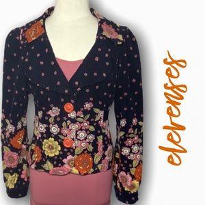 Anthropologie Elevenses textured cotton blazer